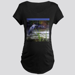 Blue Heron Sketch Maternity T-Shirt