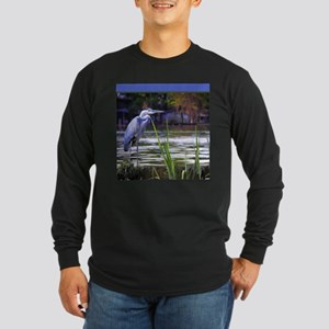 Blue Heron Sketch Long Sleeve T-Shirt