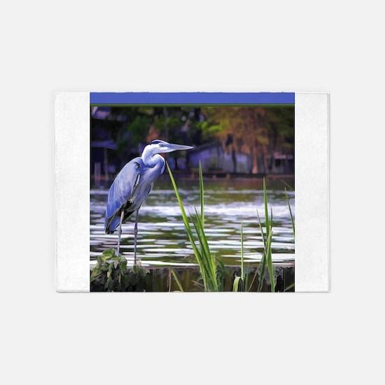 Blue Heron Sketch 5'x7'Area Rug
