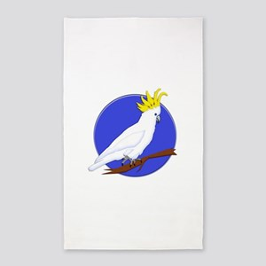 Yellow Crested Tropical Cockatoo 3'x5' Area Rug