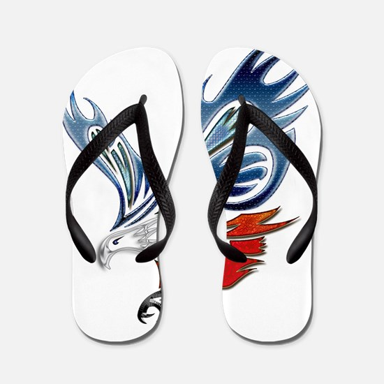 Metallic Grunge Eagle Tattoo Flip Flops