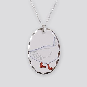 White Goose Necklace Oval Charm