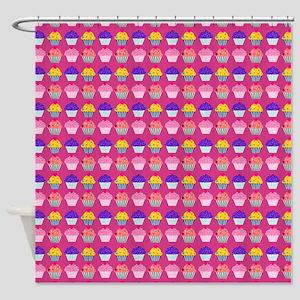 Yummy Sweet Cupcake Pattern Shower Curtain