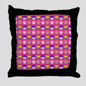 Yummy Sweet Cupcake Pattern Throw Pillow