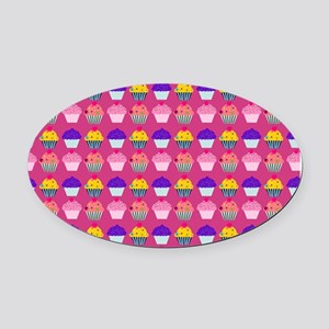 Yummy Sweet Cupcake Pattern Oval Car Magnet