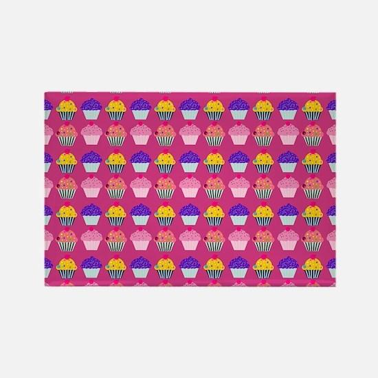 Yummy Sweet Cupcake Pattern Rectangle Magnet