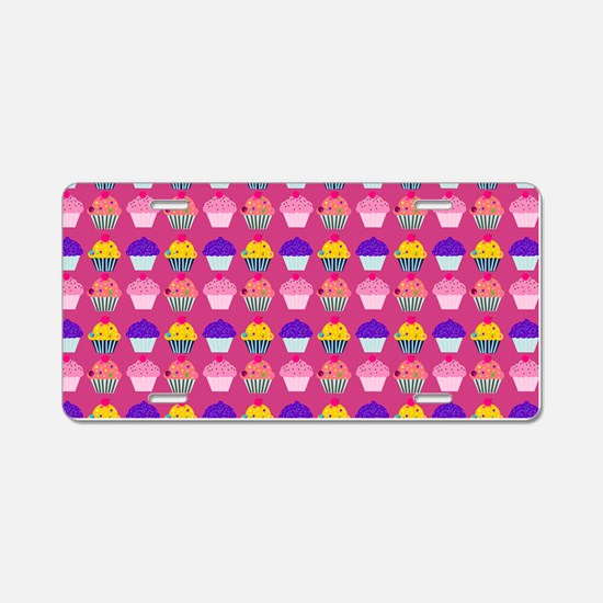 Yummy Sweet Cupcake Pattern Aluminum License Plate
