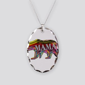 colorful mama bear Necklace Oval Charm