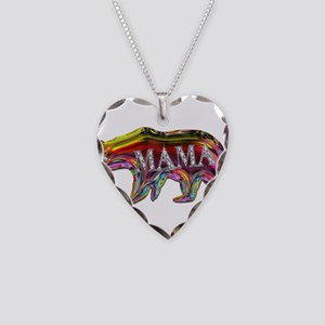 colorful mama bear Necklace Heart Charm