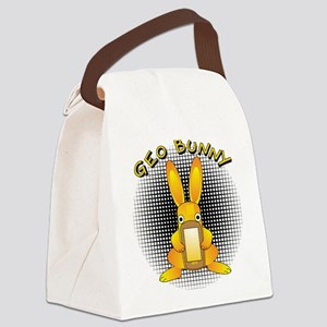 Geo Bunny Orange Text Canvas Lunch Bag