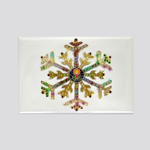 Sparkly Art Snowflake Rectangle Magnet