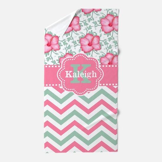 Pink Green Hibiscus Chevron Monogram Beach Towel