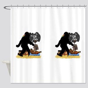 Gone Squatchin' Fer Buried Treasure Shower Curtain