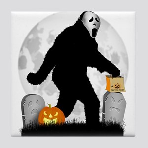 Gone Halloween Squatchin' Tile Coaster