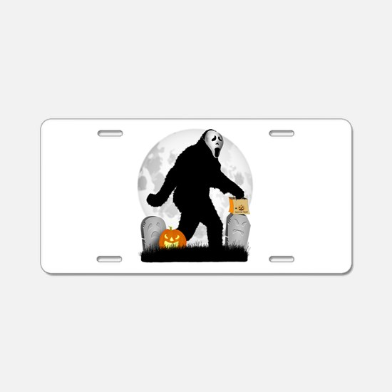 Gone Halloween Squatchin' Aluminum License Plate