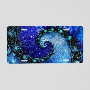 Beautiful Blue Fractal Spir Aluminum License Plate