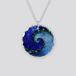 Beautiful Blue Fractal Spira Necklace Circle Charm