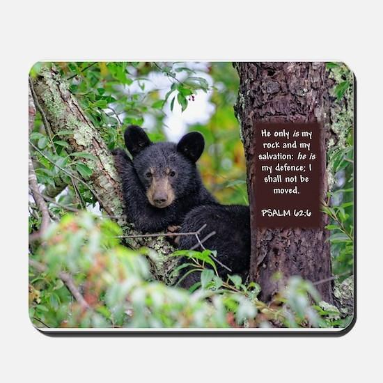 Baby Black Bear - Psalms 62-6 Mousepad