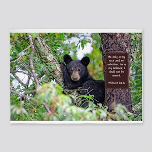Baby Black Bear - Psalms 62-6 5'x7'Area Rug