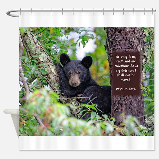 Baby Black Bear - Psalms 62-6 Shower Curtain