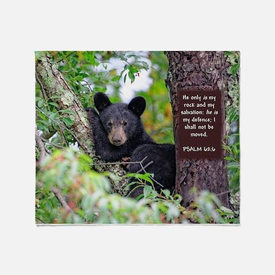 Baby Black Bear - Psalms 62-6 Throw Blanket