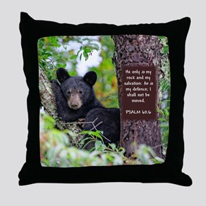 Baby Black Bear - Psalms 62-6 Throw Pillow
