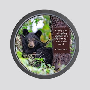 Baby Black Bear - Psalms 62-6 Wall Clock