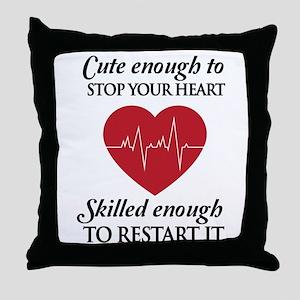 cute enough skilled enough Throw Pillow