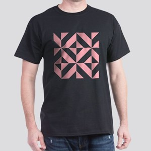Pink Geometric Cube Pattern Dark T-Shirt