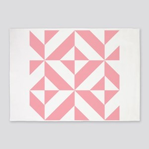 Pink Geometric Cube Pattern 5'x7'Area Rug