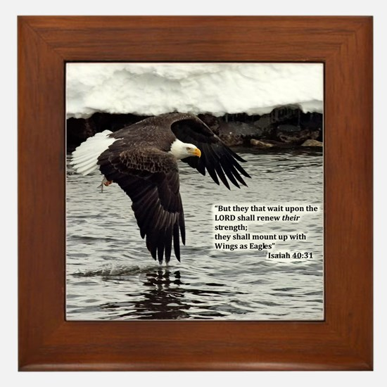 Wings of Eagles with Isaiah 40:31 Framed Tile