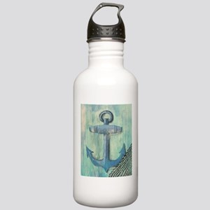 Anchor on Blue Background Water Bottle