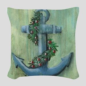 Anchor and Garland Woven Throw Pillow