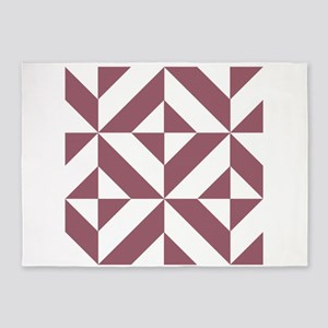 Plum Geometric Cube Pattern 5'x7'Area Rug