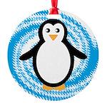 Penguin on Blue White Swirl Ornament