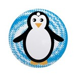 Penguin on Blue White Swirl Ornament (Round)