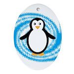 Penguin on Blue White Swirl Ornament (Oval)