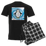 Penguin on Blue White Swirl Pajamas