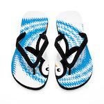 Penguin on Blue White Swirl Flip Flops