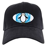 Penguin on Blue White Swirl Baseball Hat