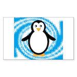 Penguin on Blue White Swirl Sticker