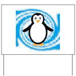 Penguin on Blue White Swirl Yard Sign