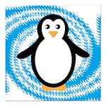 Penguin on Blue White Swirl Square Car Magnet 3