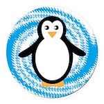 Penguin on Blue White Swirl Round Car Magnet