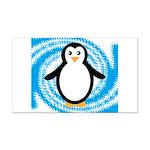 Penguin on Blue White Swirl Rectangle Car Magnet