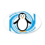 Penguin on Blue White Swirl Oval Car Magnet