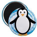 Penguin on Blue White Swirl Magnets