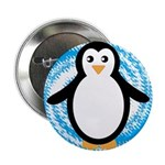 Penguin on Blue White Swirl 2.25