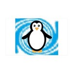 Penguin on Blue White Swirl Wall Decal