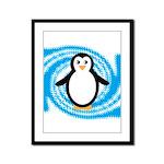 Penguin on Blue White Swirl Framed Panel Print